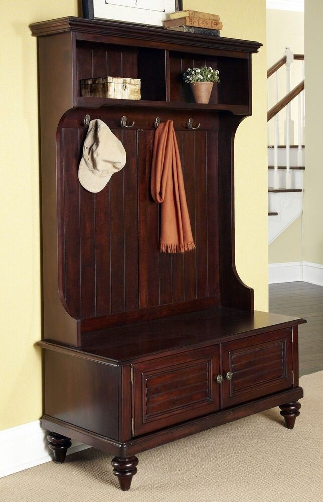 Hall tree storage bench entryway coat rack stand antique furniture hooks cottage ebay Storage bench with coat rack