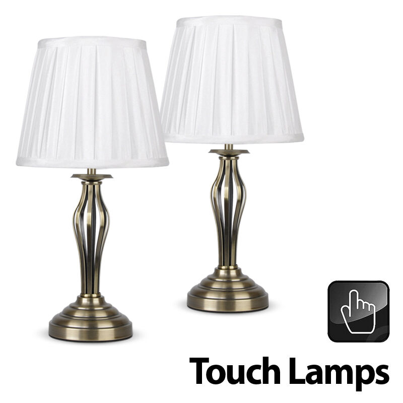 Pair Of Wrought Iron Antique Brass Touch Bedside Table Lamps Pleated Lampshades Ebay