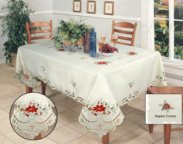 Christmas Embroidered Poinsettia Tablecloth 70x90 Quot Amp 8
