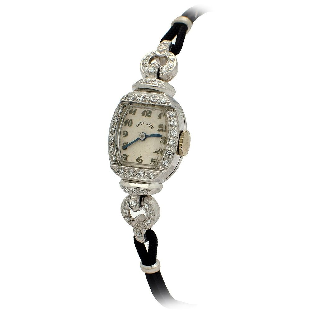 History Platinum: Platinum Antique Diamond Ladies Watch Tag # WL1821
