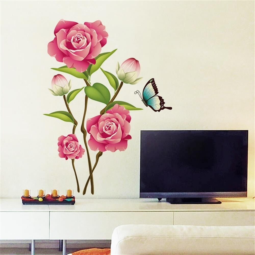 Pink rose flower decal magnolia art diy wall sticker for Pink wall art