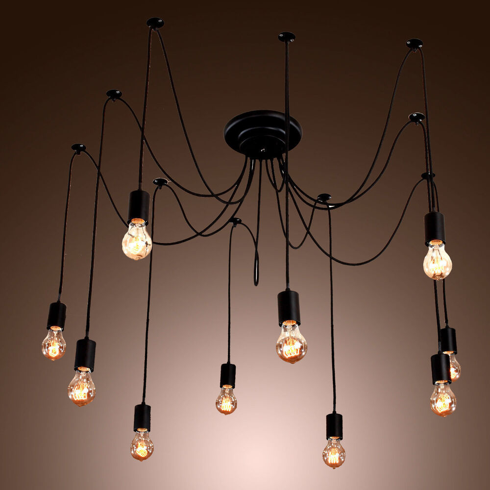 Vintage edison industrial style diy chandelier retro pendant light ceiling lamps ebay - Chandelier ceiling lamp ...