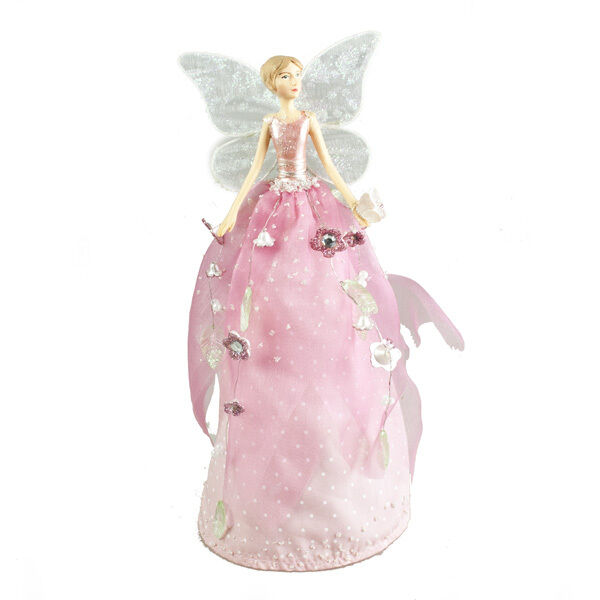 Gisela Graham Christmas Tree Topper: GISELA GRAHAM 18cm FAIRYLAND PINK ANGEL CHRISTMAS TREE