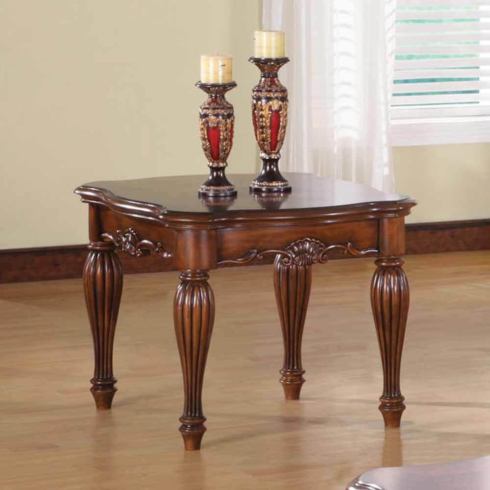 wood living room table dreena occasional living room end side table carved solid 14560