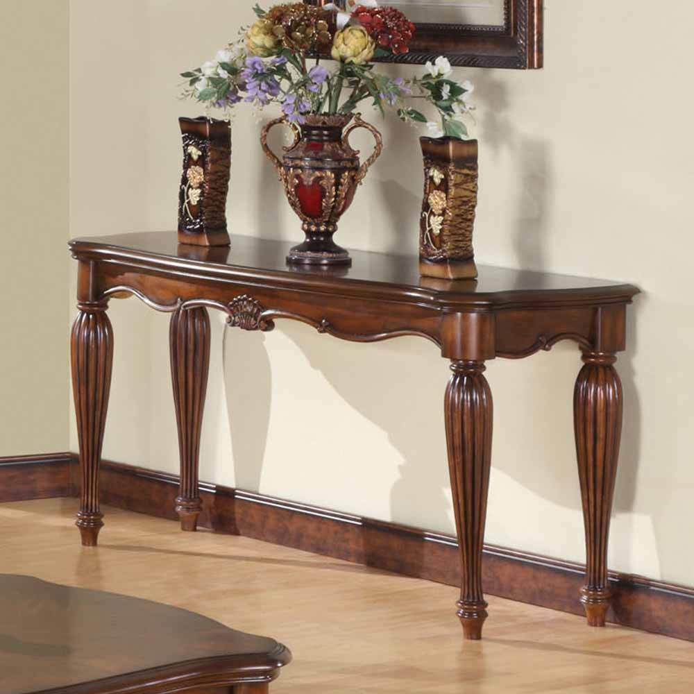 Console Table Wood Curved Elegant Accent Entry Cherry: Dreena Occasional Living Room Entry Console Sofa Table