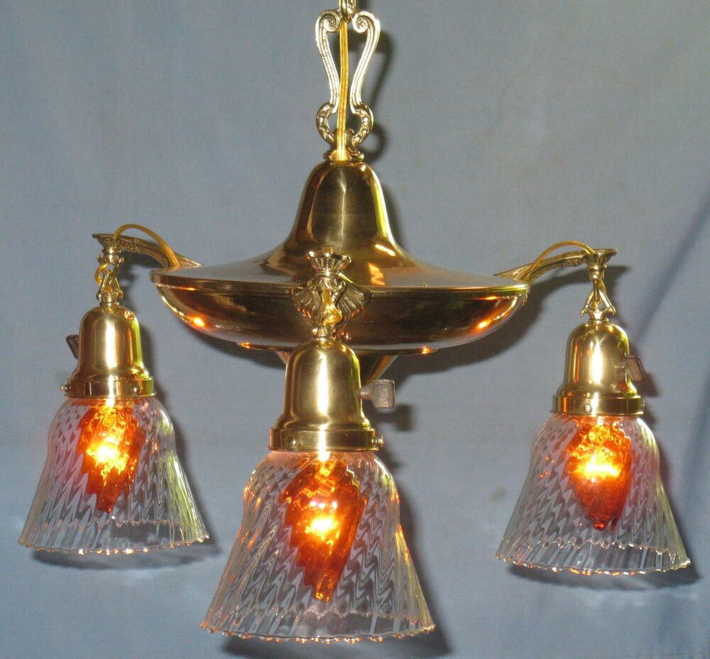 ANTIQUE SOLID BRASS 3 LIGHT PAN CEILING FIXTURE INDIVIDUAL SWITCHES CAP SHADE