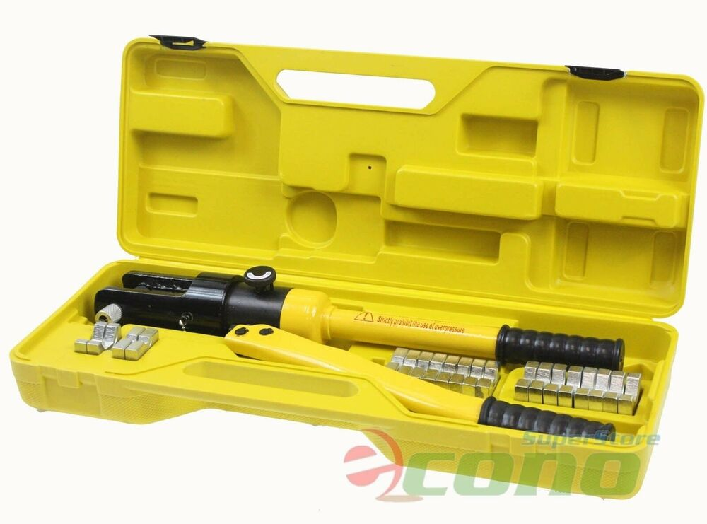 16 ton 11 dies hydraulic wire crimper crimping tool battery cable lug terminal ebay. Black Bedroom Furniture Sets. Home Design Ideas