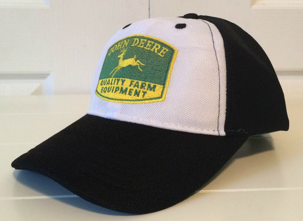 deere black white hat cap w cool patch logo quality