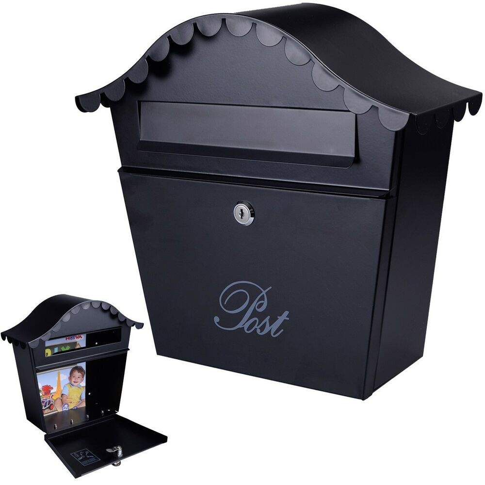 Wall Mount Black Mail Box W Retrieval Door 2 Keys Steel