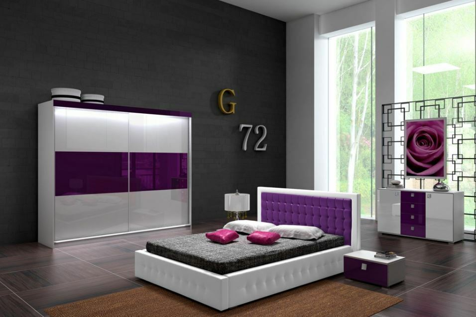 high gloss bedroom set double king super king storage bed monaco