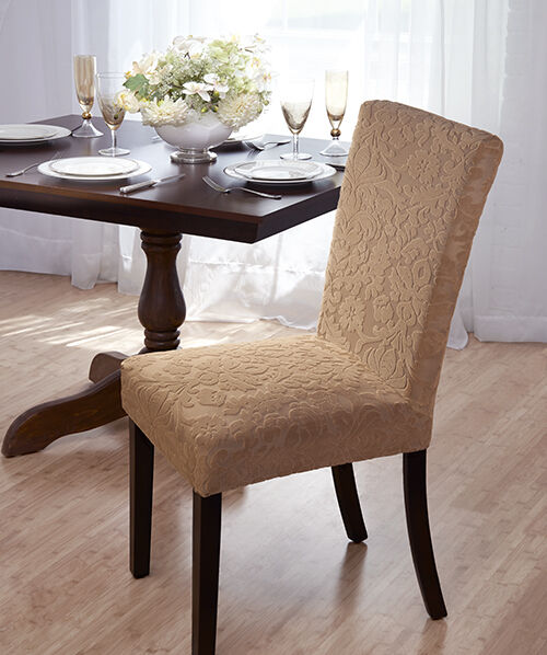luxurious velvet damask dining chair cover stretch matelasse damask dining room chair cover at brookstone buy
