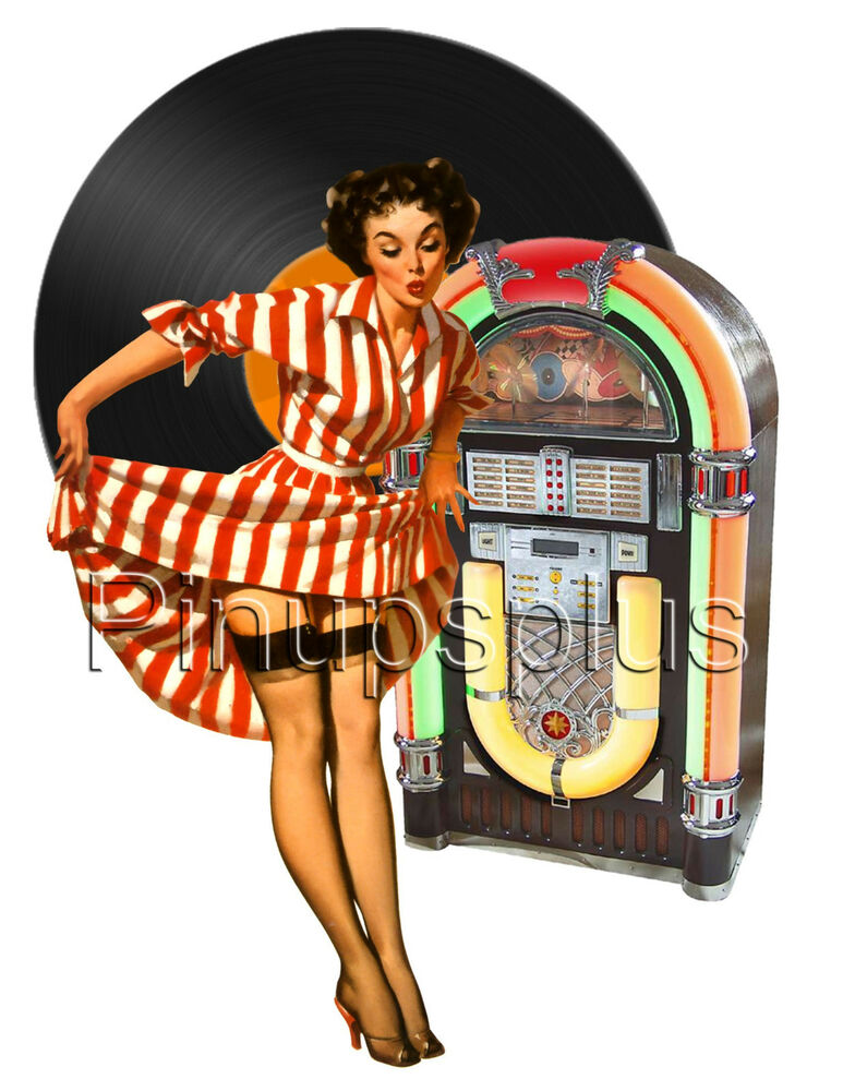 50s Vintage Pin-up Pinup Girl Waterslide Decal Rockabilly ...
