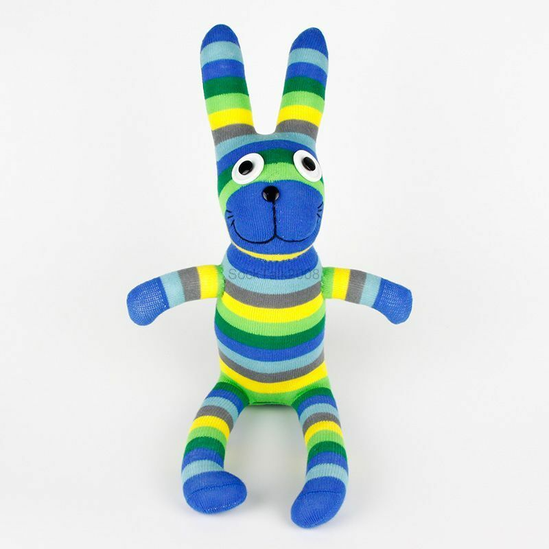 Blue Baby Toys : Handmade green blue striped sock monkey rabbit stuffed