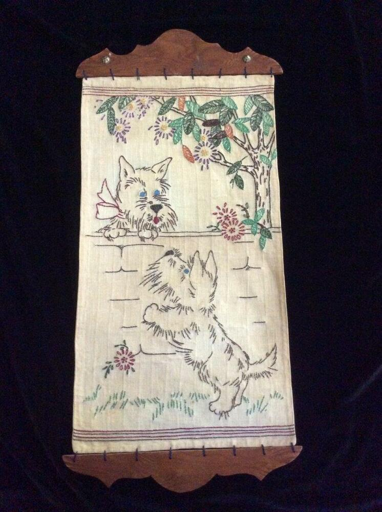 Vintage Scottie Dog HandEmbroidered Wall Hanging With