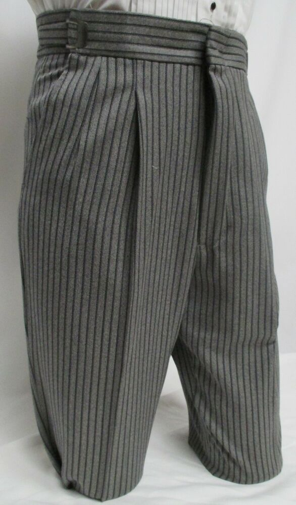 27-28-29 Mens Gray Hickory Striped Morning Trousers Victorian Dickens Tux Pants | EBay