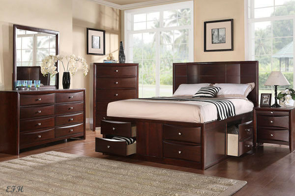 Http Www Ebay Com Itm New 4pc Marceline Espresso Finish Wood Queen Bedroom Set W Under Bed Drawers 201255406868