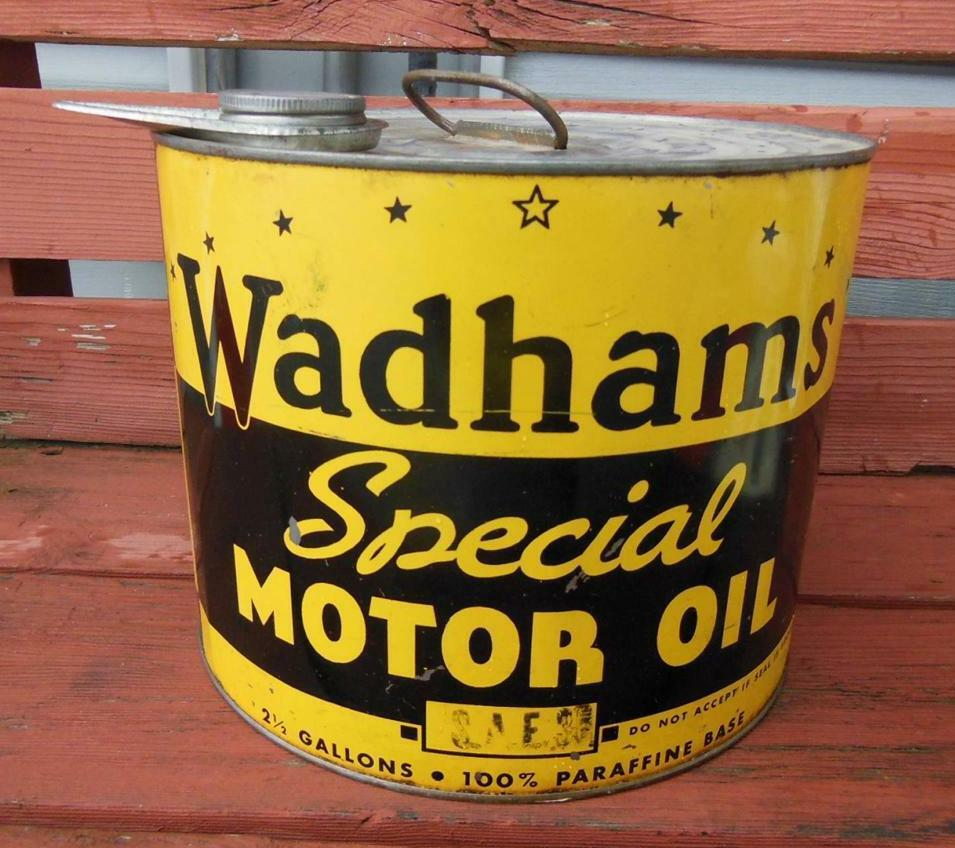 Vintage 1937 wadhams special motor oil can 2 5 gallon for Gallon of motor oil