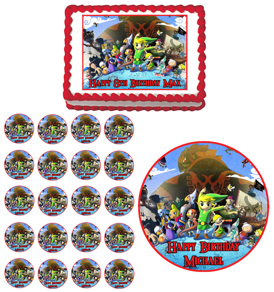 Zelda the wind waker edible birthday party cake cupcake for Decoration zelda