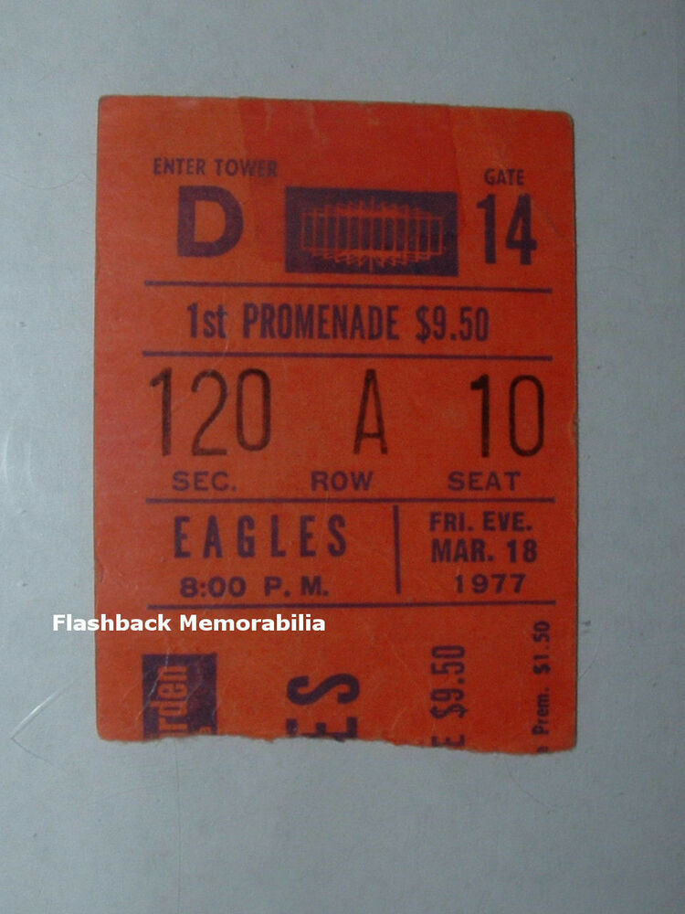 Eagles jimmy buffett 1977 concert ticket stub madison for Tickets madison square garden