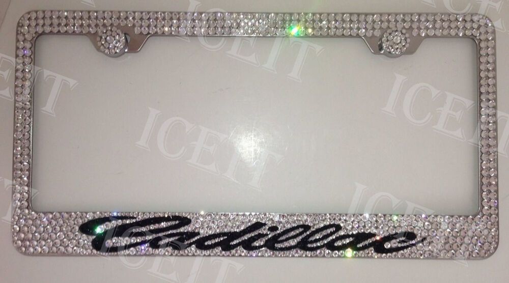 cadillac stainless steel license plate frame w swarovski crystals