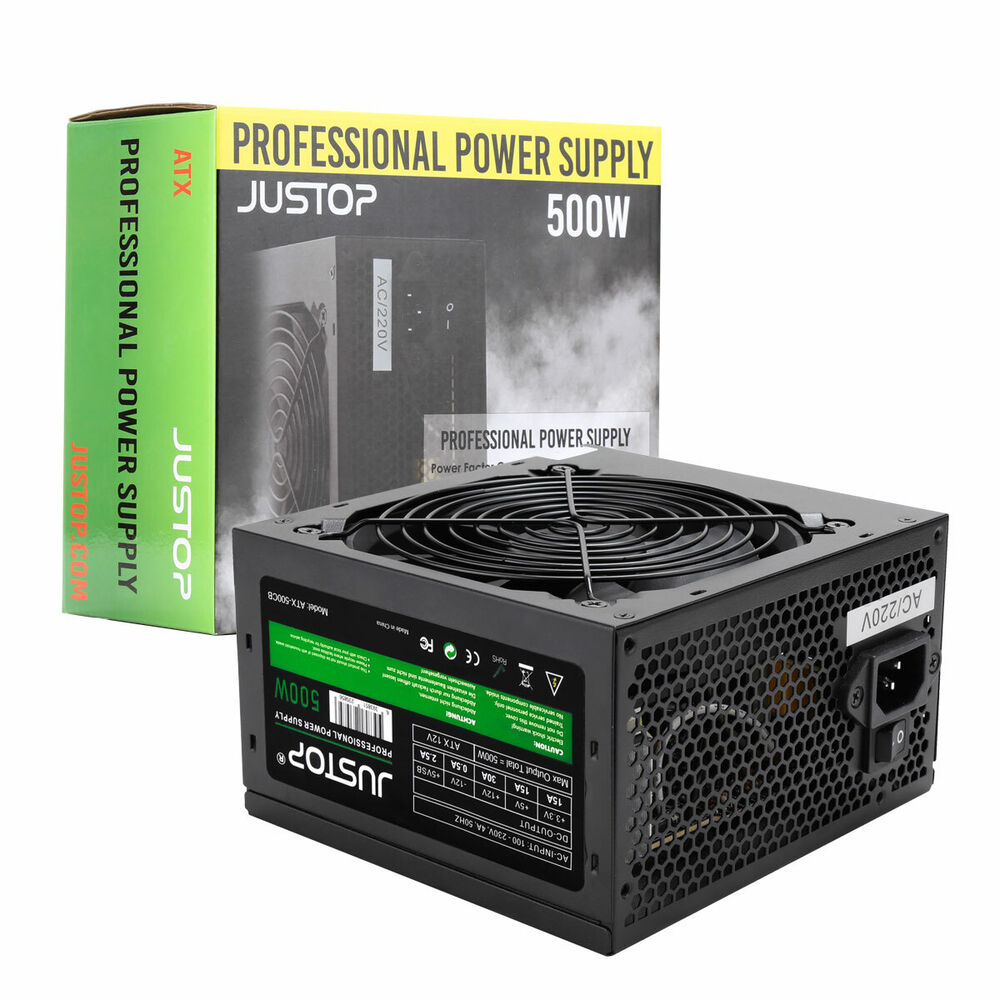 Black 500w 12cm Silent Fan Pc Power Supply Atx Computer