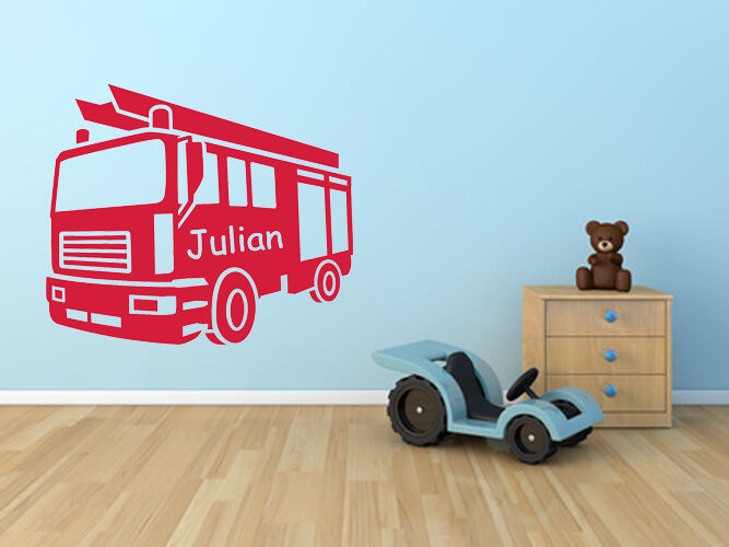 wandtattoo aufkleber feuerwehr mit wunschname name kind auto kinderzimmer ki090 ebay. Black Bedroom Furniture Sets. Home Design Ideas