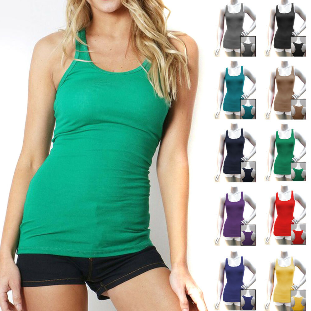 COTTON RIBBED RACERBACK TANK TOP Womens Stretch Long