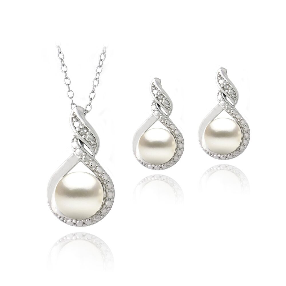 Sterling Silver Freshwater Pearl & Diamond Pearl Necklace ...