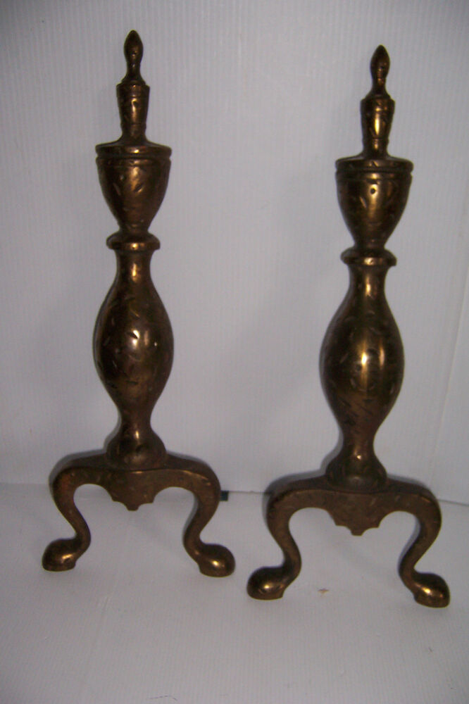 Vintage Brass Look Cast Iron Fireplace Andirons Ebay