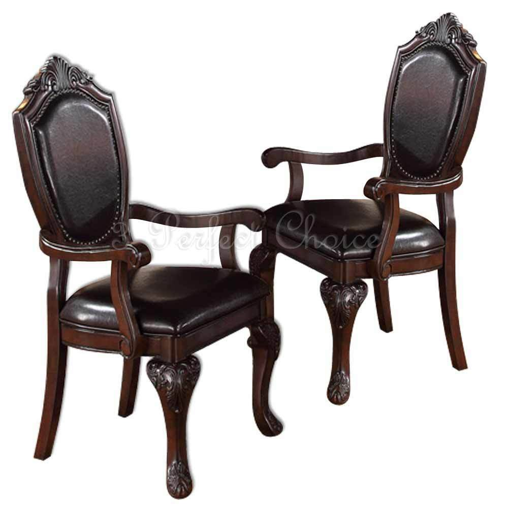 2 pc formal dining arm chair decor foot upholstered faux for Formal dining chairs