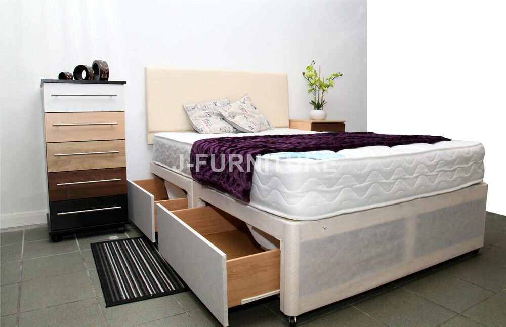 4ft or 4ft6 double divan bed with deep quilt mattress for Double divan bed with slide storage