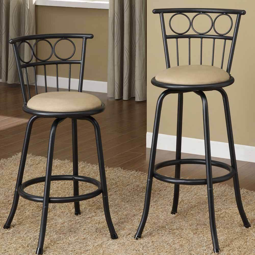 Set of 2 bar pub counter height barstools swivel for Kitchen swivel bar stools
