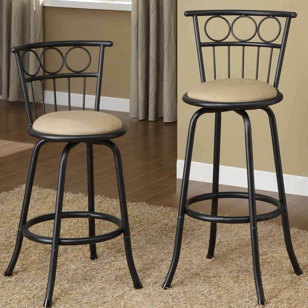 Set Of 2 Bar Pub Counter Height Barstools Swivel Adjustable Height Stools Metal Ebay