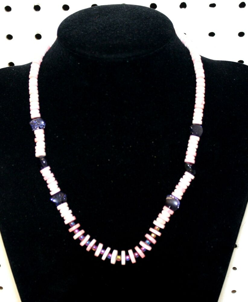 Purple goldstone bear fetish pink heishi beaded native for Jewelry stores in bear delaware