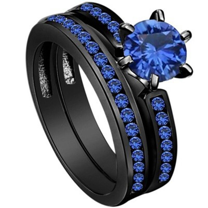 4-12 Black Wedding Ring Engagement Solitaire Blue Crystal ...