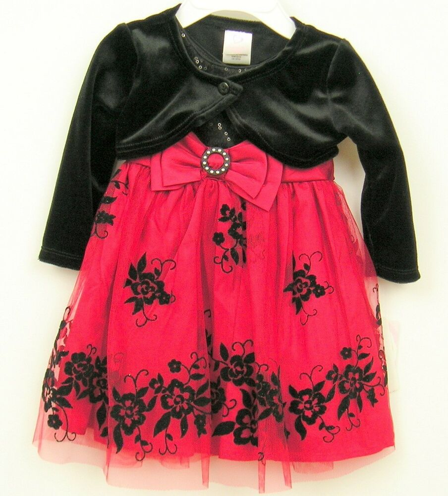 Youngland Baby Party Dress Sz 12 months Red/Black ...