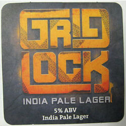 GRID LOCK INDIA PALE LAGER IPL Beer COASTER, Mat, DuClaw Brewing, MARYLAND, 2014