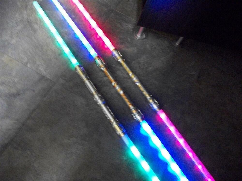 3 Galactic Wars Dual Lightsaber Led 6 Fx Double 2 Sided