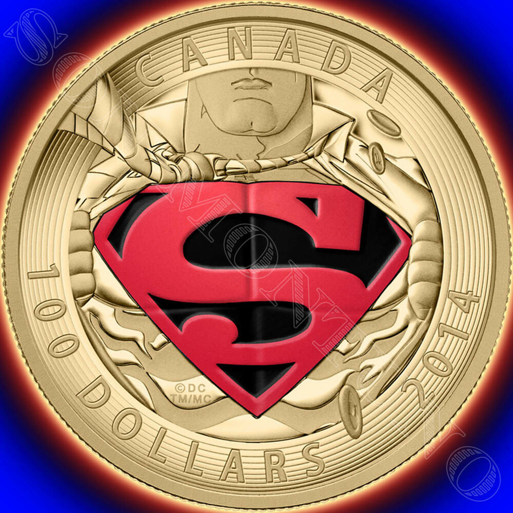 2014 Canada 14KT GOLD SUPERMAN $100 COIN Iconic Comic Book