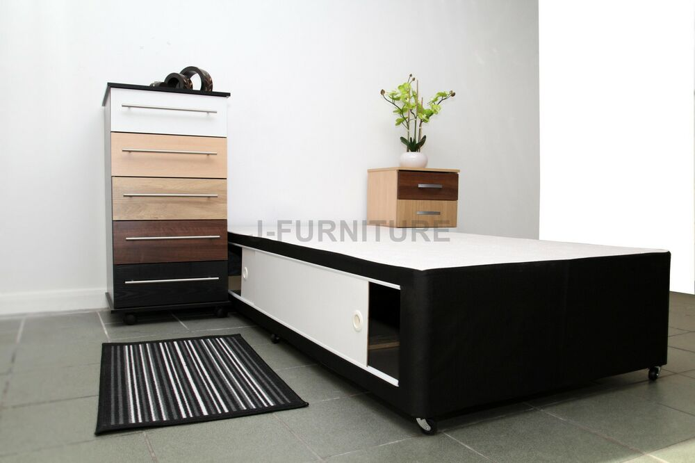 3ft standard single divan bed base in black colour with