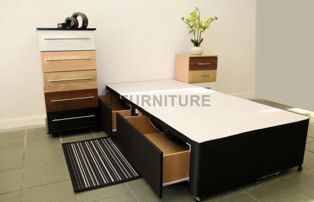 3ft standard single divan bed base in black colour with 2 for Single divan with drawers and headboard