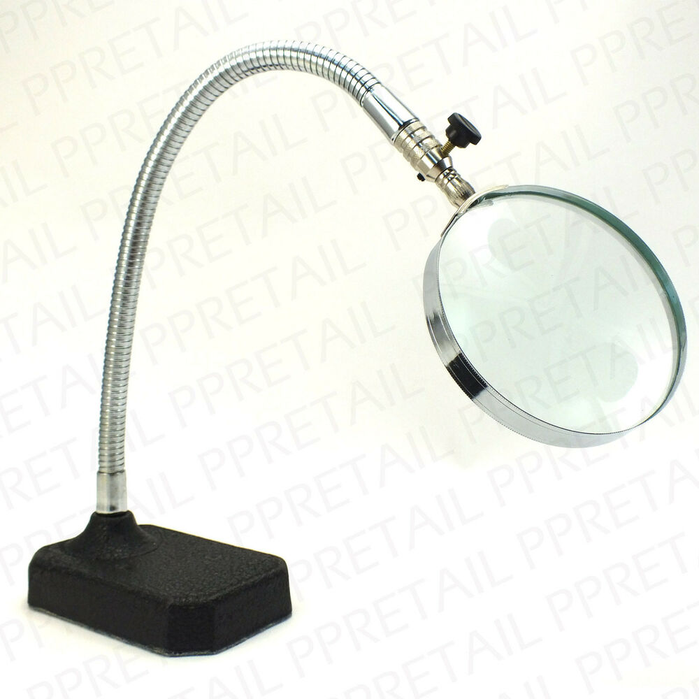 Desk Magnifying Glass : Large desktop magnifying glass ★heavy duty stand★ flexible