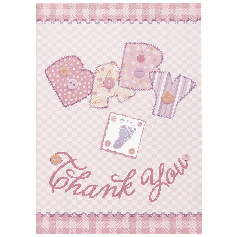baby pink stitching baby shower party thank you cards plus envelopes