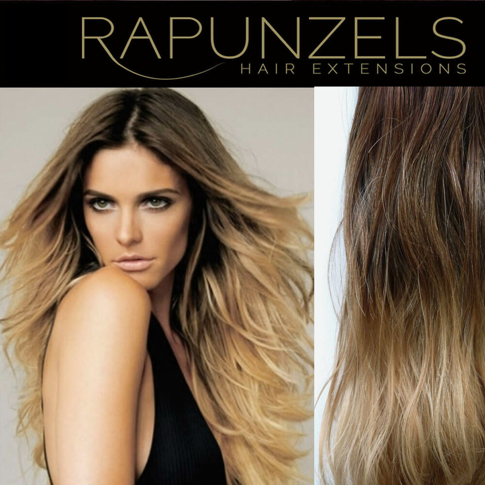 Clip In Ombre Dip Dye Remy Human Hair Extensions Diy Half Head Full