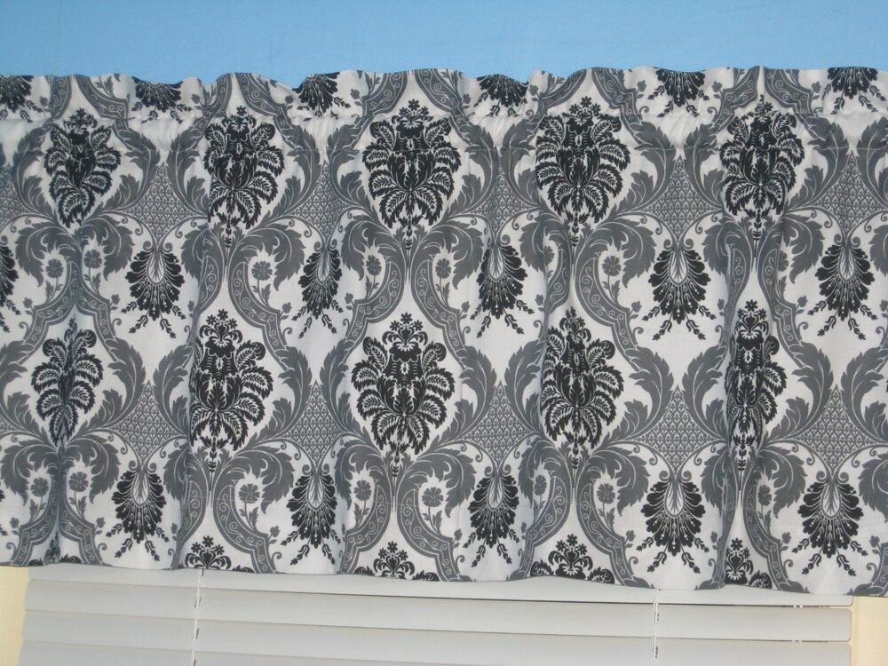 Handmade 100 cotton white gray black damask 14 quot x42 quot topper curtain
