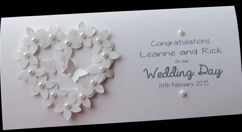 Wedding Gift Cards Online: Personalised Handmade Flowerheart Wedding Day Money