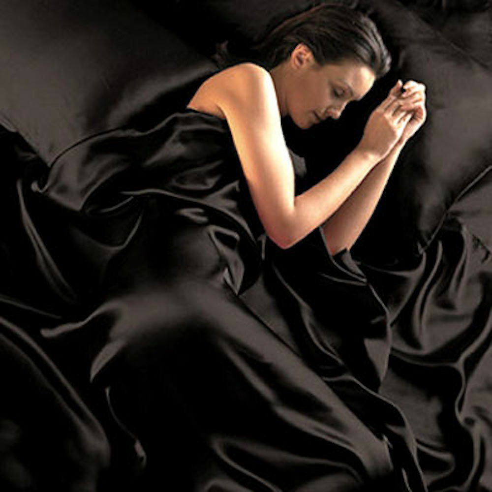 Black Satin Sheets Queen Size Soft Silk Feel Bedding 4pc