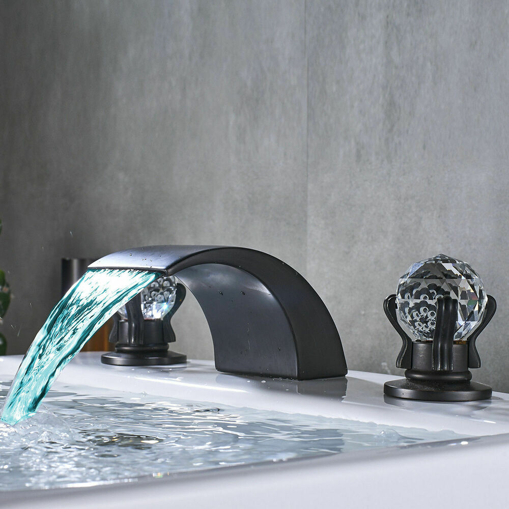 Led Colors Waterfall Bathroom Sink Faucet Widespread Basin