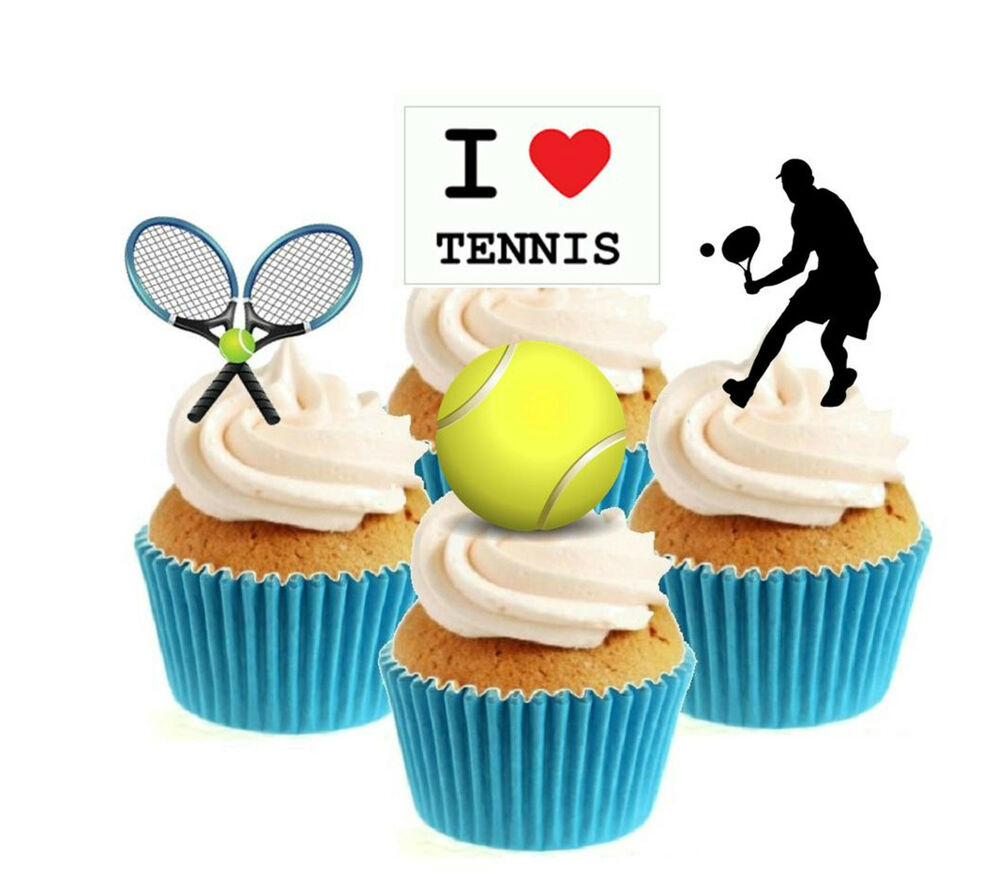 Tennis Cake Decorations Uk : Novelty Tennis Mix Male 12 Edible Stand Up wafer paper ...