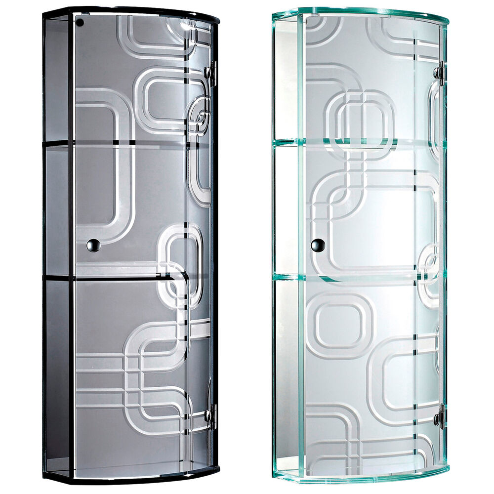 Ferrara glass wall mounted curved glass bathroom - Wall mounted bathroom storage units ...
